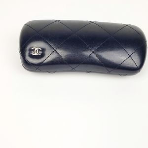 Chanel Black Leather Quilted Sunglass Case